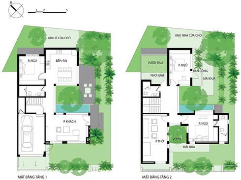 Bản vẽ mặt bằng nhà phố có thiết kế hiện đại.:  Nhà gia đình by Công ty TNHH Thiết Kế Xây Dựng Song Phát