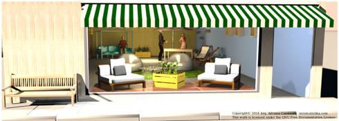3D Fachada de Local Comercial: Centros comerciales de estilo  por Minimalistika.com