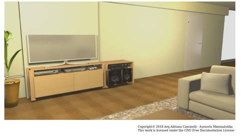 3D Sala versión uso familiar: Salas/Recibidores de estilo minimalista por Minimalistika.com