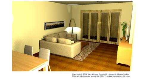 3D Sala versión uso familiar: Salas / recibidores de estilo minimalista por Minimalistika.com