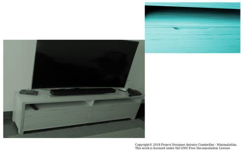 Mueble para tv  sala versión uso familiar: Salas/Recibidores de estilo minimalista por Minimalistika.com
