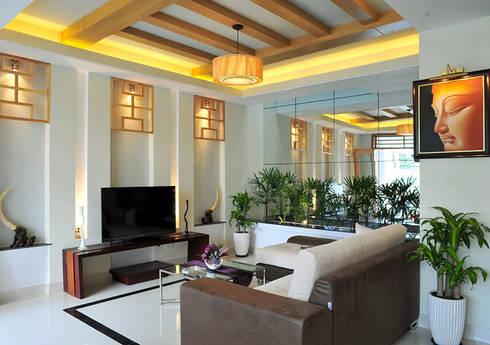Phòng khách và bếp thông thoáng và xanh mát:  Phòng khách by Công ty TNHH Xây Dựng TM – DV Song Phát