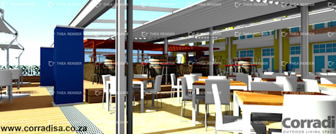 Corradi retractable roofs at Cape Town Fishmarket - V & A Waterfront Cape Town:  Hotels by Corradi Outdoor Living Space
