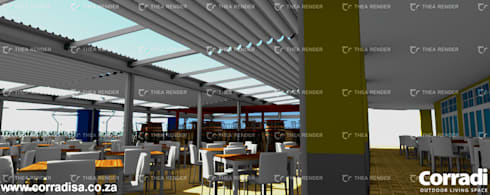 Corradi retractable roofs at Cape Town Fishmarket - V & A Waterfront Cape Town:  Commercial Spaces by Corradi Outdoor Living Space