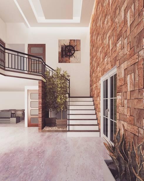 Recibidor Doble Altura: Escaleras de estilo  por gb arquitecto