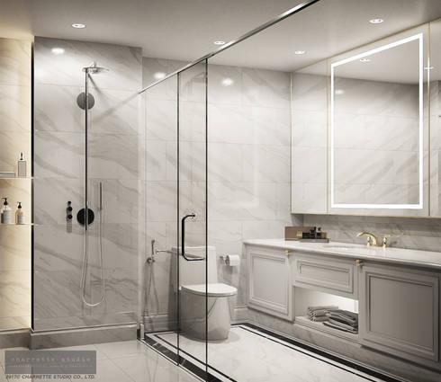 Master Bathroom:  ห้องน้ำ by Charrette Studio Co., Ltd.