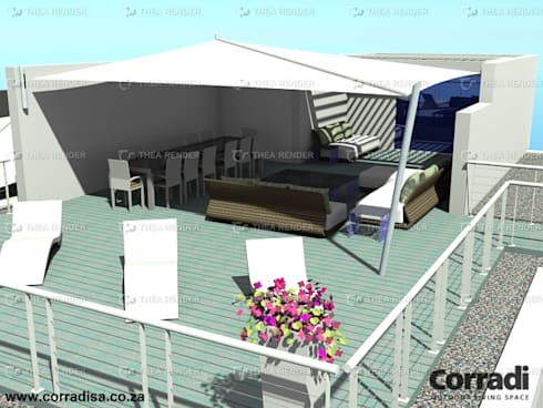 RETRACTABLE SAIL AWNINGS BY CORRADI:  Patios by Corradi Outdoor Living Space