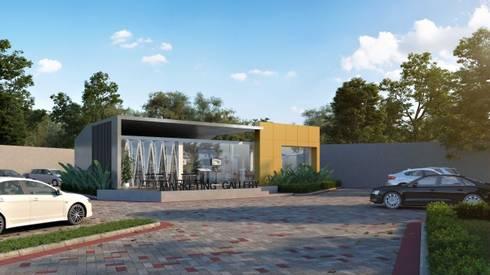 Design Exterior Marketing Gallery:  Gedung perkantoran by Roemah Cantik
