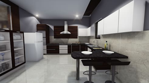 Modern Kitchen: asian Kitchen by Cfolios Design And Construction Solutions Pvt Ltd