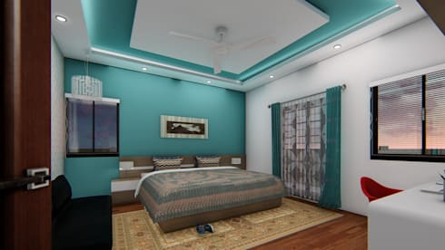 Guest Bedroom : asian Bedroom by Cfolios Design And Construction Solutions Pvt Ltd