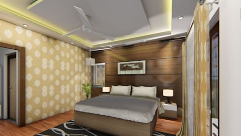Master Bedroom: asian Bedroom by Cfolios Design And Construction Solutions Pvt Ltd