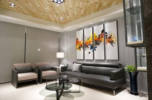 現代人文 中式寫意:  客廳 by 沐築空間設計