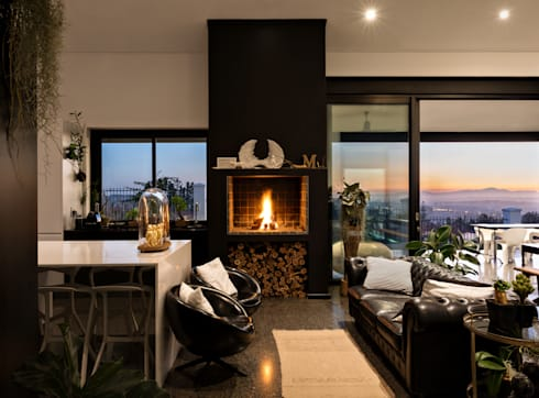 House Viljoen, Living room/Kitchen and Fireplace/Barbeque : modern Living room by Hugo Hamity Architects