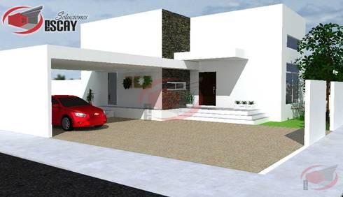 FACHADA PRINCIPAL DE VIVIENDA : Casas de estilo moderno por Escay Soluciones