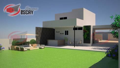 FACHADA POSTERIOR CASA CHICHI: Casas de estilo moderno por Escay Soluciones