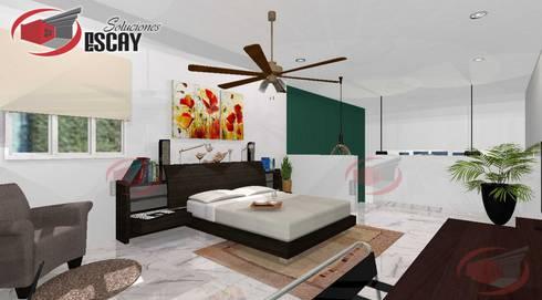 Recámara Casa Chichí 3: Recámaras de estilo moderno por Escay Soluciones