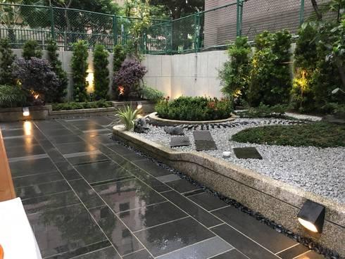 居家庭園設計:  石頭庭院 by 大地工房景觀公司