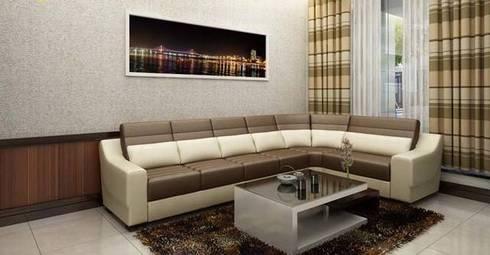 Bộ ghế sofa đơn giản:  Phòng khách by Công ty TNHH Thiết Kế Xây Dựng Song Phát