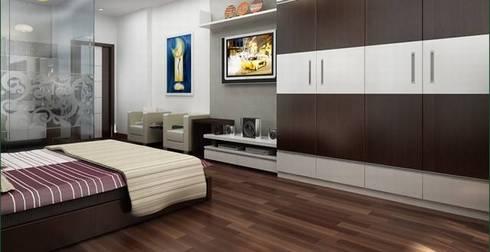 Sàn gỗ tạo sự ấm áp cho phòng ngủ:  Phòng ngủ by Công ty TNHH Thiết Kế Xây Dựng Song Phát
