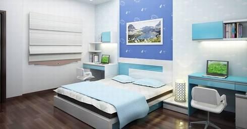Gam màu xanh - trắng chủ đạo làm nổi bật căn phòng:  Phòng ngủ by Công ty TNHH Thiết Kế Xây Dựng Song Phát