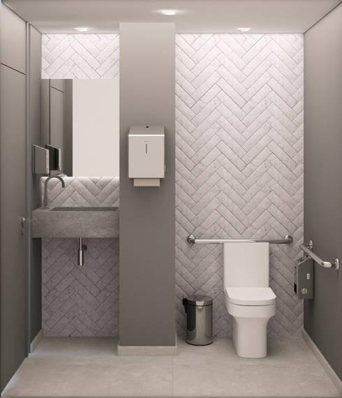 Banheiro de portadores de necessidades especiais - PNE: Clínicas  por AM arquitetura e interiores