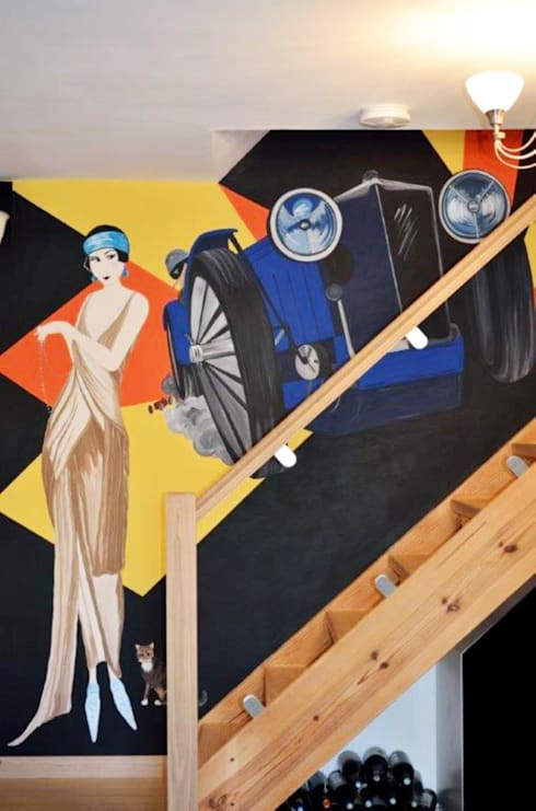Art Deco Feature Wall Mural:  Corridor & hallway by Joanna Perry Murals