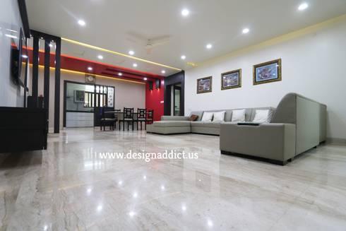 Total Interior design work in Wakad, Pune: modern Living room by Designaddict