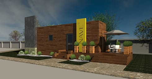 Fachada Caseta de ventas fraccionamiento residencial: Oficinas y Tiendas de estilo  por TALLER DE ARQUITECTURA 2A