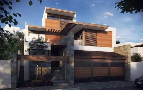 Diseño de fachada : Casas de estilo moderno por TALLER DE ARQUITECTURA 2A