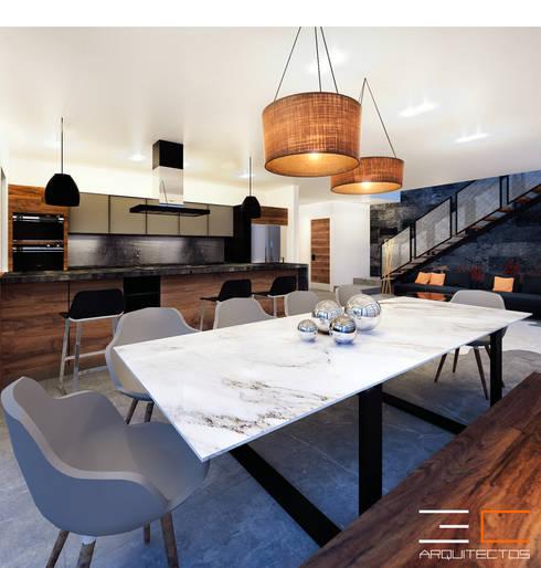 Comedores de estilo  por 3C Arquitectos S.A. de C.V.