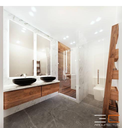 Residencia SZ [León, Gto.]: Baños de estilo  por 3C Arquitectos S.A. de C.V.