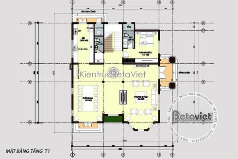 Mặt bằng tầng 1 mẫu biệt thự Tân cổ điển châu Âu 3 tầng KT16152.   :   by Công Ty CP Kiến Trúc và Xây Dựng Betaviet