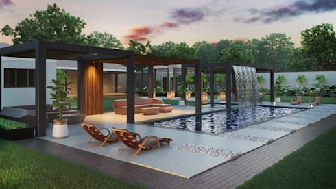 Various Outside Entertainment Areas: modern Pool by Dessiner Interior Architectural