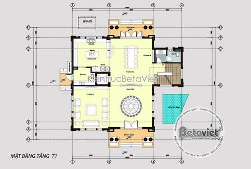 Mặt bằng tầng 1 mẫu thiết kế biệt thự Vinhomes Riverside KT17044:   by Công Ty CP Kiến Trúc và Xây Dựng Betaviet
