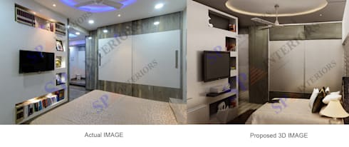 Actual image and Proposed 3d views: modern Bedroom by SP INTERIORS
