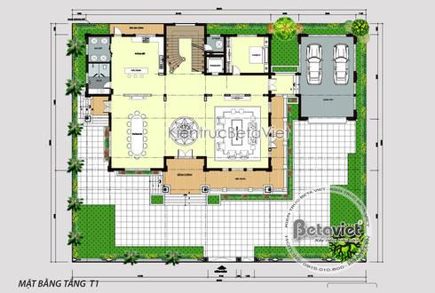 Mặt bằng tầng 1 mẫu biệt thự đẹp 3 tầng Tân cổ điển châu Âu KT17062:   by Công Ty CP Kiến Trúc và Xây Dựng Betaviet