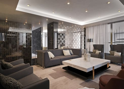 Contemporary Residence : modern Media room by Dessiner Interior Architectural