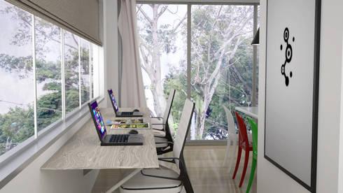 vista a oficina: Estudios y despachos de estilo moderno por Elizabeth SJ