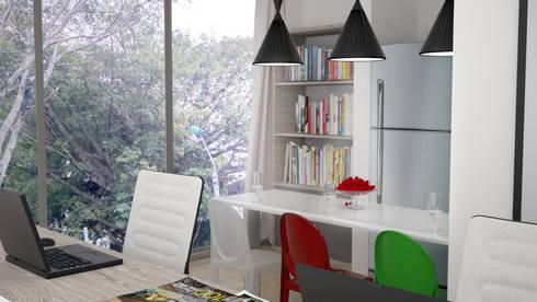 oficina y comedor: Armarios de cocinas de estilo  por Elizabeth SJ