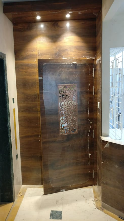 Main Door in Mystique Moods, Viman Nagar:  Front doors by Umbrella Tree Designs
