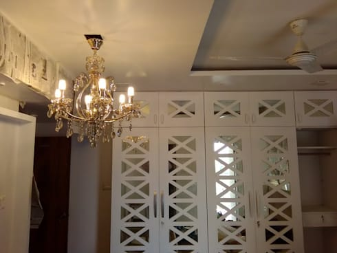Mirror & Duco Work Cupboard in Mystique Moods, Viman Nagar: scandinavian Bedroom by Umbrella Tree Designs