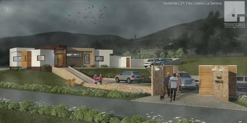 Render Vivienda Premium 115m2 Fundo Loreto.:  de estilo  por Territorio Arquitectura y Construccion