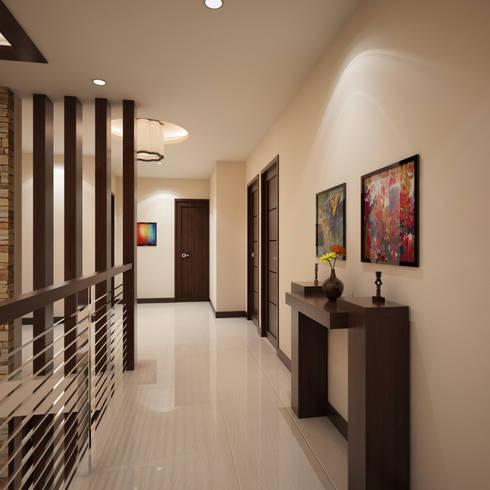 Mr. & Mrs. P Residence:  Corridor and hallway by TWINE Interior Design Studio