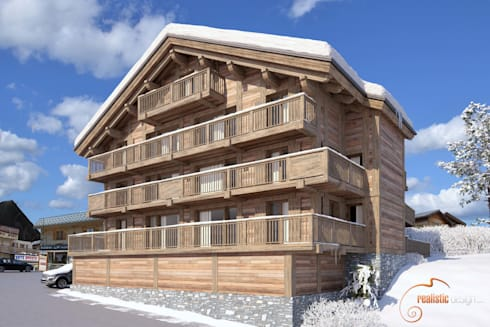 Perspectiva 3D, hotel de madera en la nieve : Casas de madera de estilo  de Realistic-design