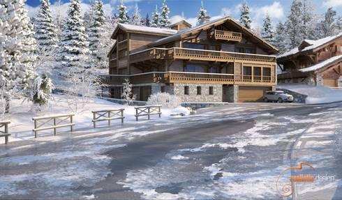 Perspectiva 3D, chalet en la nieve: Casas de madera de estilo  de Realistic-design