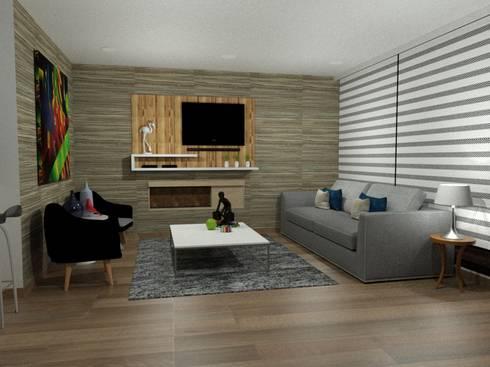 decoracion interior: Sala multimedia de estilo  por Omar Plazas Empresa de  Diseño Interior, remodelacion, Cocinas integrales, Decoración