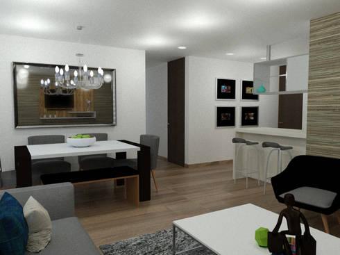 comedor: Comedor de estilo  por Omar Plazas Empresa de  Diseño Interior, remodelacion, Cocinas integrales, Decoración