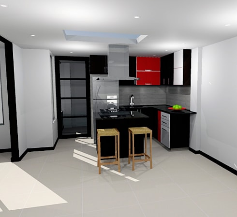 diseño de cocina integral: Cocinas integrales de estilo  por Omar Plazas Empresa de  Diseño Interior, remodelacion, Cocinas integrales, Decoración