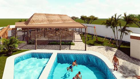 Vista del conjusnto: Anexos de estilo rústico por Kiuva arquitectura y diseño