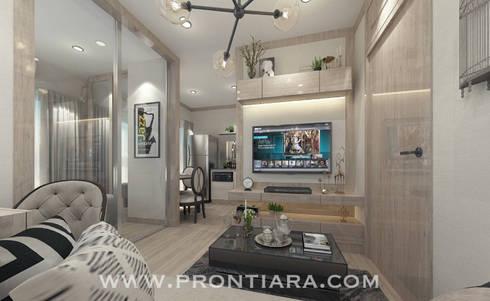 งบเริ่มต้น 150,000 ฿:  ห้องนั่งเล่น by Prontiara